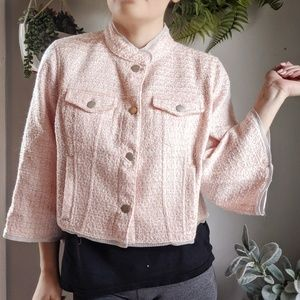 RACHEL RACHEL ROY Crop tweed jacket pink NEW 0446